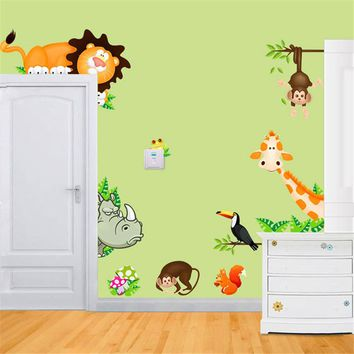KXAAXS 2017 cartoon Giraffe Monkey Lion Zoo Jungle Animal Kids Baby Nursery Child Home Decor Mural Wall Sticker Decal home decor