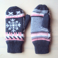 Christmas Clearance Sale! Snowflake Gloves Knit Winter Mittens Fleece Lining  Traditional  Fair Isle Knit Gift For Her   Ready to Ship!