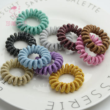 Shapu 2pcs 9 Colour the new telephone wire high elasticity for rubber bands hair accessories for lady scrunchies headwear