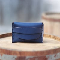 Wallet / Leather Wallet / Dark Blue Wallet / Handmade Wallet / Mens Wallets / Ladies Wallet - Birthday Present - Groomsmen Gifts