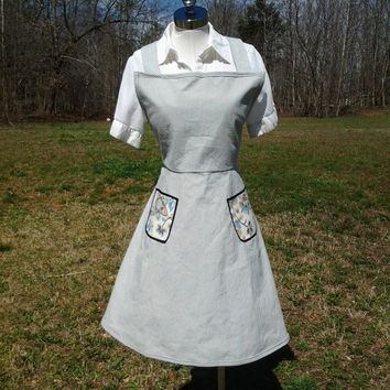 Vintage Inspired Full Apron with Pocket and vintage Trim - Handmade by The Hippie Patch