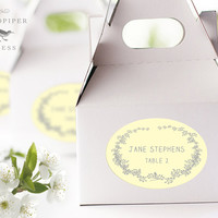 Place Cards Wedding Stickers, Yellow and Gray, Printed Escort Cards, Wedding Favor Stickers, Oval Labels, Seating Placement Name - Set of 15