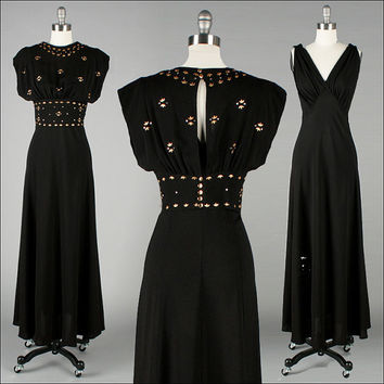 Vintage 1930s Dress . Black Rayon . Deep Plunge . Metal Studs . Bias Cut . M . 2445