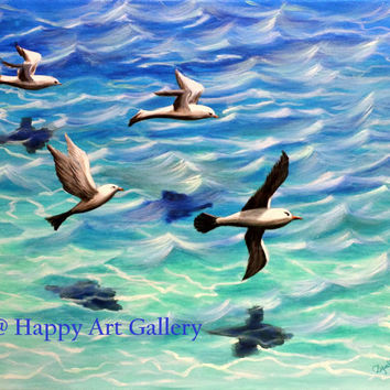 Seascape Painting, Seagulls, ocean Original Art, Ocean view, flying seagulls, nautical art. Abstract Painting, sea art. Hand Painted 16X20""