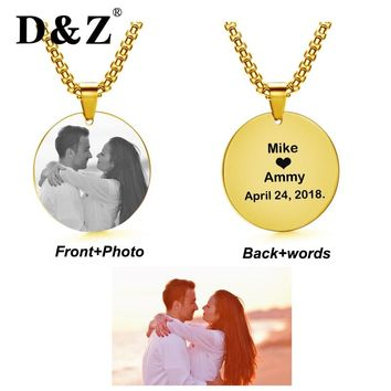 D&Z Cute Personalized Engraved Custom Necklace Gold Chain Stainless Steel Logo Name Photo Pendants for Women Jewelry Love Gifts