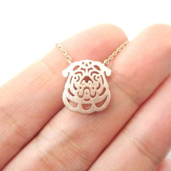 Pug Puppy Dog Face Cut Out Shaped Pendant Necklace in Rose Gold | Animal Jewelry