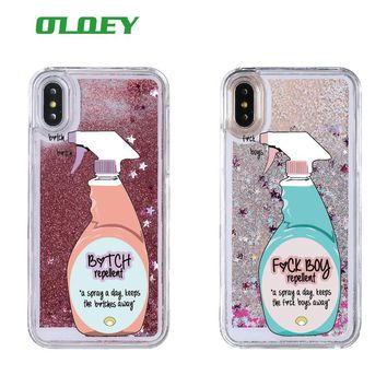 Sexy Repellent Spray FBoys Bitch Away Heart Quicksand Glitter Liquid Hard Case For iPhone 7 7Plus 6 6S 6Plus 5s 8 8Plus X XS Max
