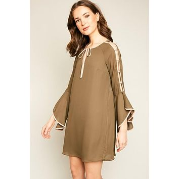 Just For Mommy Women's Angel Sleeve Shift Dress With Front Bow