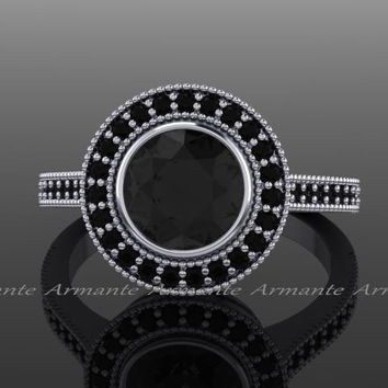 Black Diamond Vintage Engagement Ring, Halo Vintage Style Black and Diamond Engagement Ring, 14K White Gold 1.25ct Moissanite .33ct Diamonds