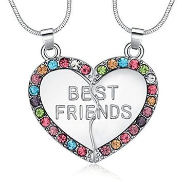 AUGUAU ElOI Best Friend Necklaces Heart 2 Piece Gifts for Teen Girls 18 Inch Necklace Set