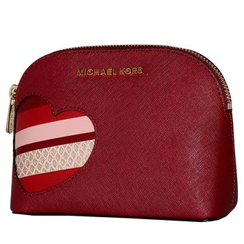 MICHAEL Michael Kors Women's CINDY HEARTS Travel Pouch Make up Case Bag (Cherry)