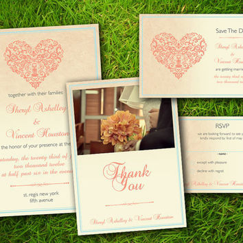 DIY Printable - Vintage Bohemian Love Wedding Invitation Suite. Set of Invitation Card, Save The Date, RSVP, Thank You Card