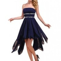 MerMaid Women's Strapless Asymmetrical Evening Party Prom Dress H016