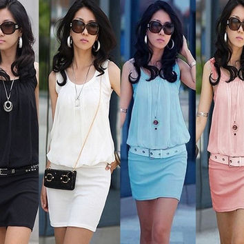 women fashion Fold collar bag hip OL commuter sleeveless knit cotton Chiffon Dress