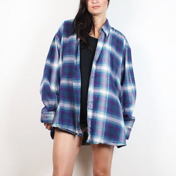 Vintage 90s Flannel Shirt Purple Teal Blue White Plaid Worn 1990s Oversized Boyfriend Shirt Layering Soft Grunge Flannel XL Extra Large XXL