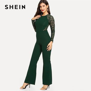 SHEIN Green Office Lady Lace Insert Raglan Sleeve Flare Hem Solid Long Sleeve Skinny Jumpsuit Workwear Women Jumpsuits