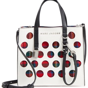 MARC JACOBS Perforated Tartan Plaid & Leather Tote | Nordstrom