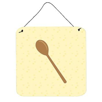 Wooden Spoon on Yellow Wall or Door Hanging Prints BB7285DS66