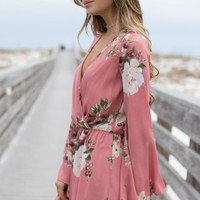 Blooms In Paradise Mauve Floral Romper