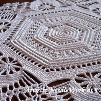 Doily Table Linen  Irish Crochet   Wedding Centerpiece  Tabletop Decoration  Placemat  Home Decor  Made to Order