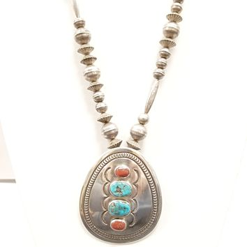 Peyote Bird Designs Vintage Morenci Turquoise and Coral Classic Necklace