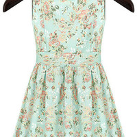 Light Green Sleeveless Floral A-Line Mini Skater Dress