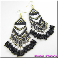 Native American Beaded Earrings Black and White Beadwork