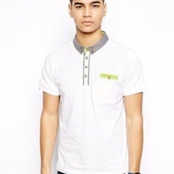 Bellfield Polo Shirt With Pocket Trim - White