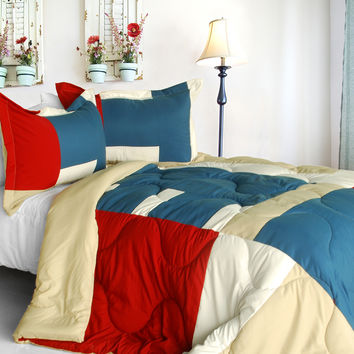 Sunshine Coast Quilted Patchwork Down Alternative Comforter Set in King Size
