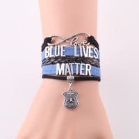 Infinity Love blue lives matter bracelet police charm leather Awareness bracelets & bangles