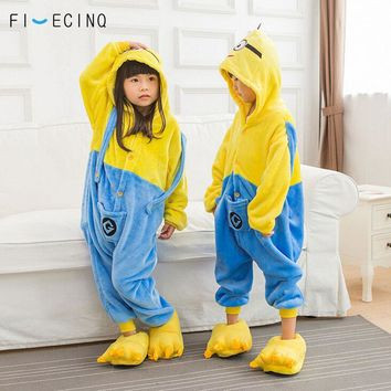 Minions Kigurumi Kids Onesuit Anime Cartoon Cosplay Costume Boy Girl Overall Yellow Blue Flannel Pajama Fantasias Funny Hooded