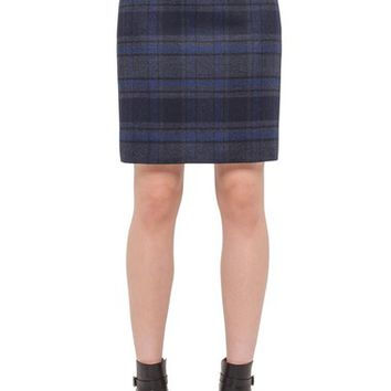 Akris Check Print Double Face Wool Pencil Skirt | Nordstrom