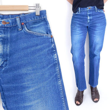 Sz 30 Men's High Waisted Wrangler Jeans - 80s Vintage Distressed Faded Whisker Line Straight Leg Cowboy Dungarees