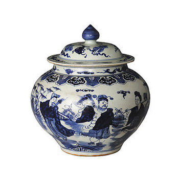 """Beautiful Blue and White Porcelain Ginger Jar 8 Immortals Motif 16"""" with Lid"""
