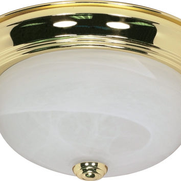 "11"" Flush Mount Lighting Fixture in Polished Brass Finish"
