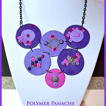 Purple Lavender Fuchsia Magenta Discs Statement Necklace Handcrafted Purples and Magenta Polymer Clay Black Chain Bib Style Necklace Polymer