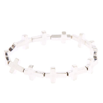 Silver-Tone Stretch Cross Bracelet
