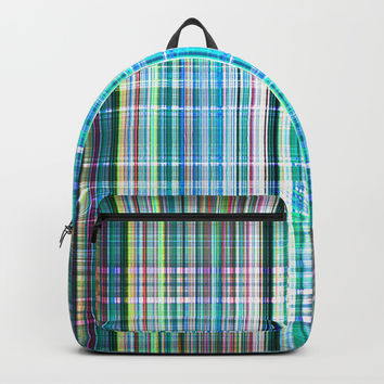 Colourful grunge striped pattern Backpacks by Steve Ball
