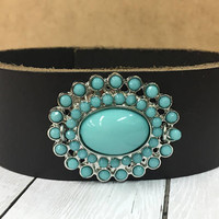 Leather and Turquoise Cuff, Turquoise Bracelet, Bohemian Cuff, Gypsy Cuff, Western Cuff, Wide Leather Cuff, Country Style, Boho Hippie, BOHO