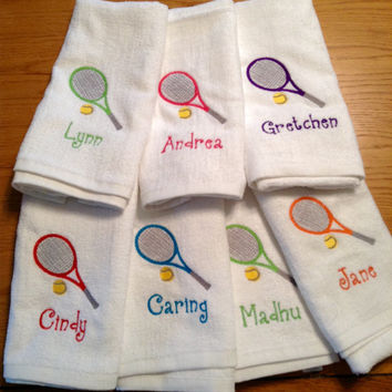 Tennis, Gym Towel Personalized - Luxury White Cotton