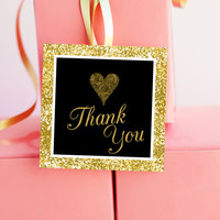 Gold Party Favor Tags - Black and Gold Favor Tags - Gold Thank You Tags - Black and Gold Thank You Tags