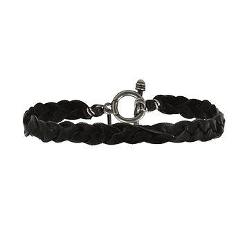 Mens Black Leather Braided Bracelet with Silver Closure