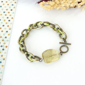 Lemon Quartz Gemstone Bracelet, Yellow Green Faceted Stone, Neon Brass, Raw Stone Jewelry