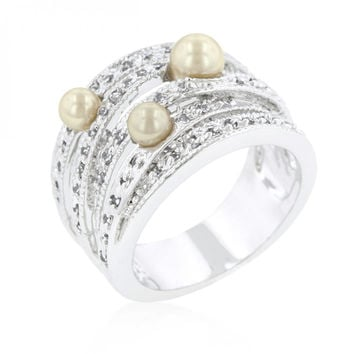Champagne Pearl Cocktail Ring