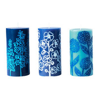 LANTST?LLE Block candle, assorted patterns, blue