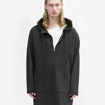 Elongated Hooded Pullover Trench in Black