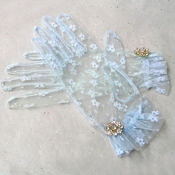 Blue Lace Gloves, Light Blue Ruffles Gloves, Wedding Gloves, Vintage Style Lace Gloves with Rhinestone Jewellery