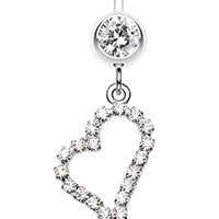 Romantic Curved Heart Belly Button Ring
