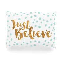 """Nick Atkinson """"Just Believe"""" White Gold Oblong Pillow"""