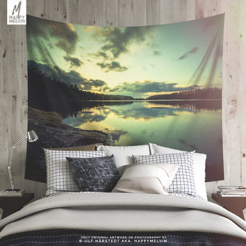 Lake Sunset Wall Tapestry | Lake Wall Hangings | Lake Wall Art | Wanderlust | Nature | Bohemian Wall Decor | Lake Wall Tapestries | Dorm